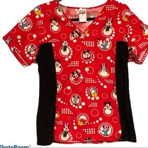 Disney Minnie Mouse Scrub Top Red Womens Med